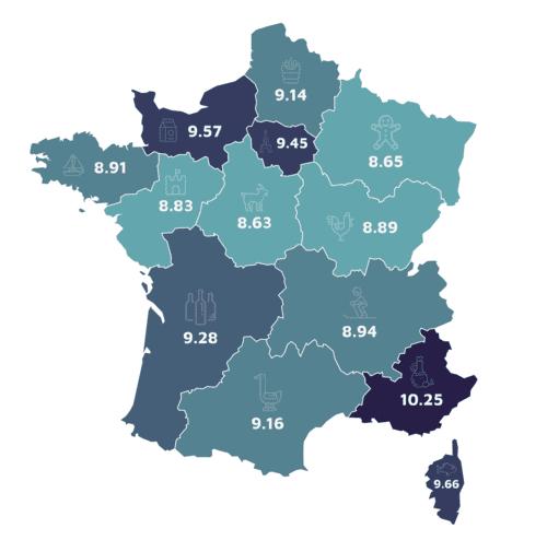 Calcul GES : empreinte Carbone France par région