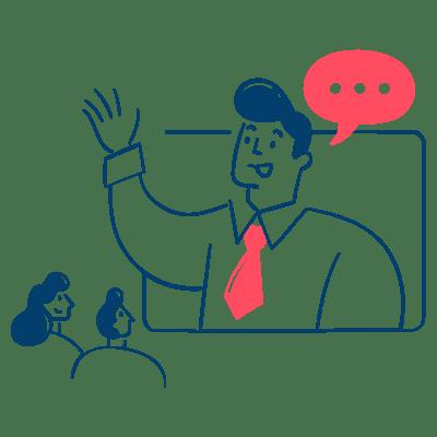 Personne qui parle à d'autres personnes à travers un écran
