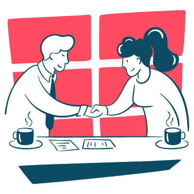 Poignée de main entre 2 employés ou collaborateurs